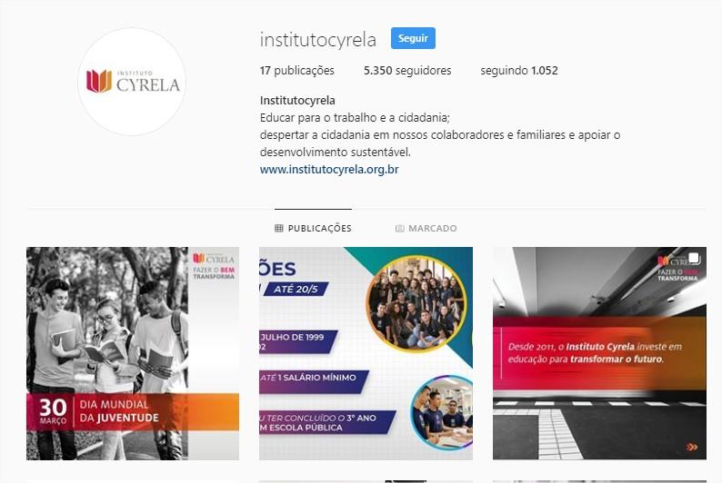 instagram instituto cyrela redes sociais